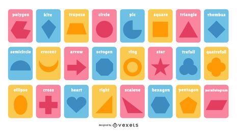 Colección de tarjetas de formas coloridas