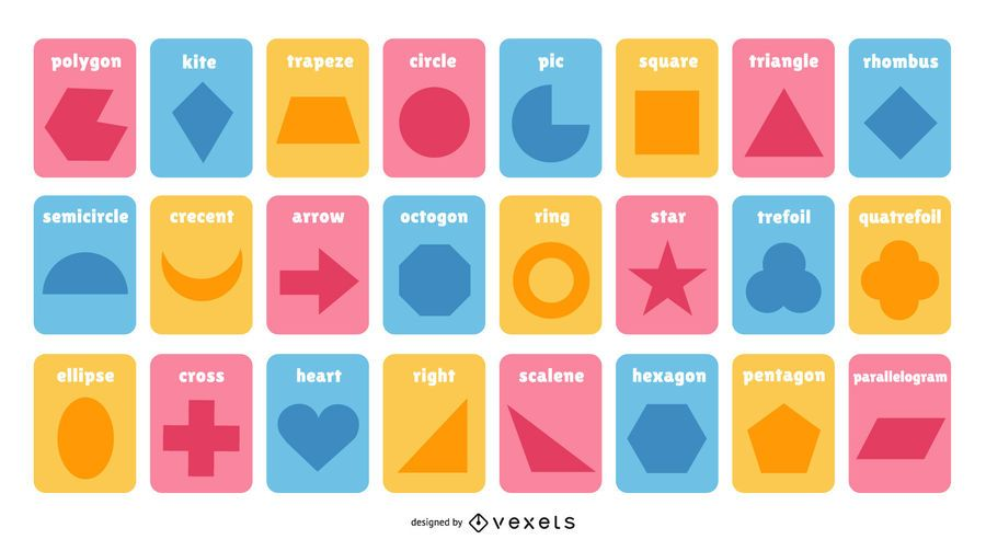 Colorful Shape Flashcard Collection