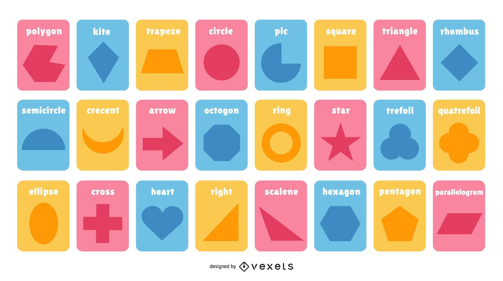 Coleção de cartões coloridos com formas