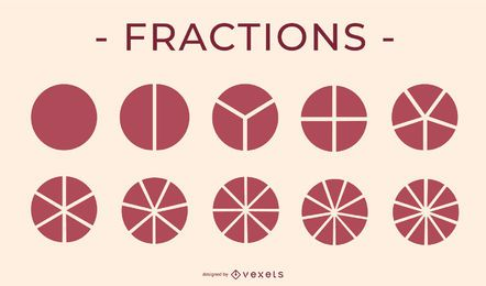 Fractions Pie Icon Education Elements Pack