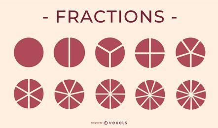 Paquete de elementos educativos de icono de pastel de fracciones