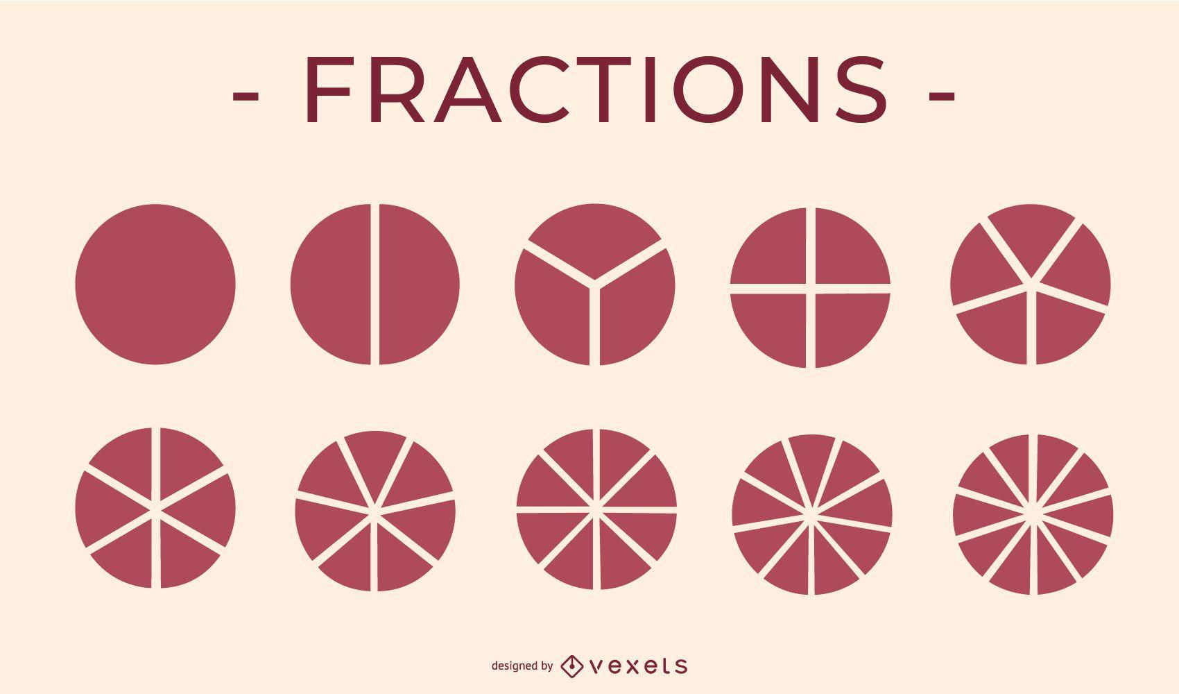 Paquete de elementos educativos de icono de tarta de fracciones