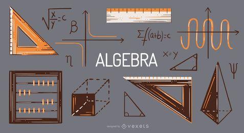 Conjunto de ilustración de elementos de álgebra
