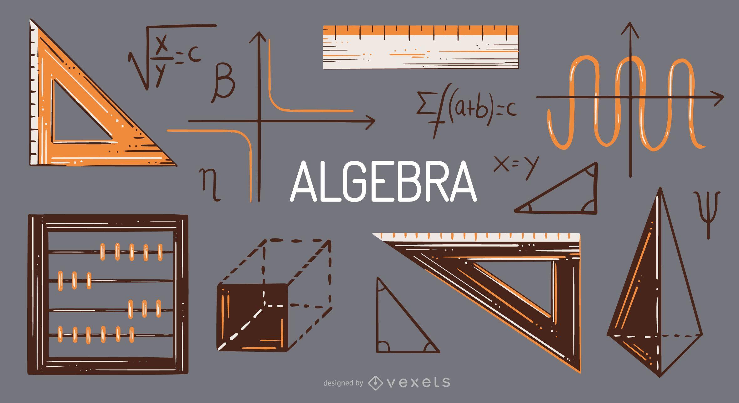 Algebra elements illustration set
