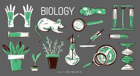Biology elements illustration set