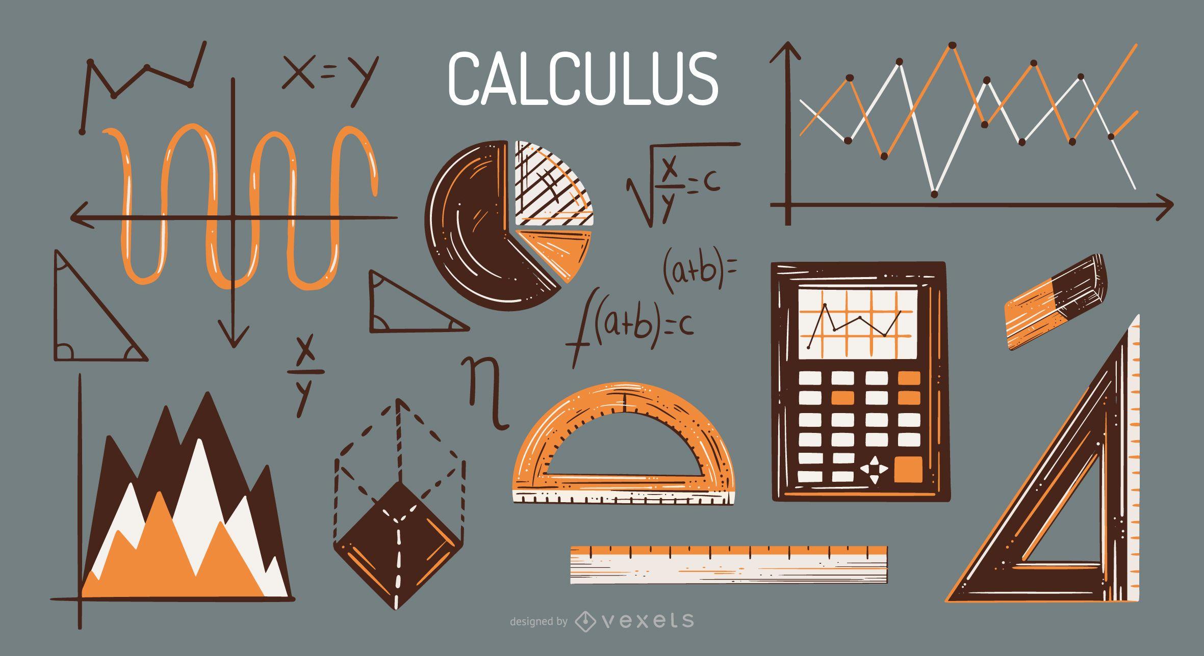 Calculus elements illustration set