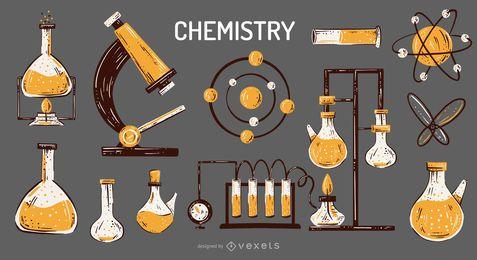 Conjunto de ilustração de elementos de química