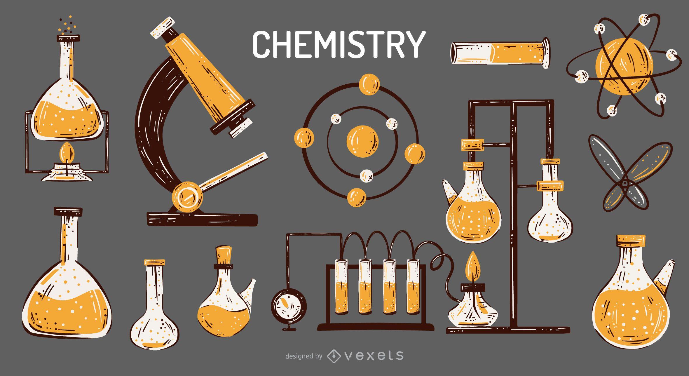 Conjunto de ilustraci?n de elementos de qu?mica