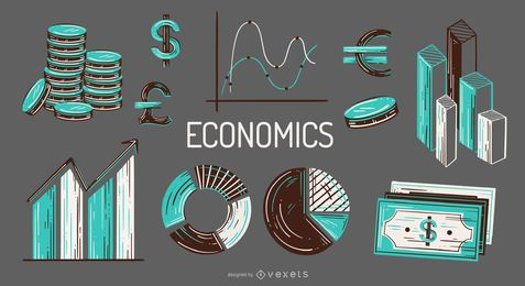 Conjunto de ilustração de elementos econômicos