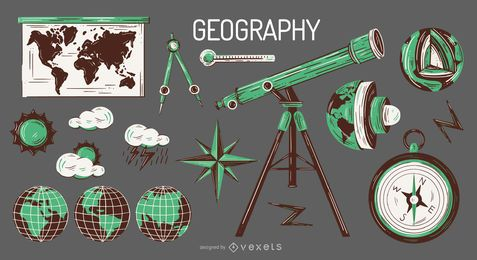 Conjunto de ilustración de elementos de geografía
