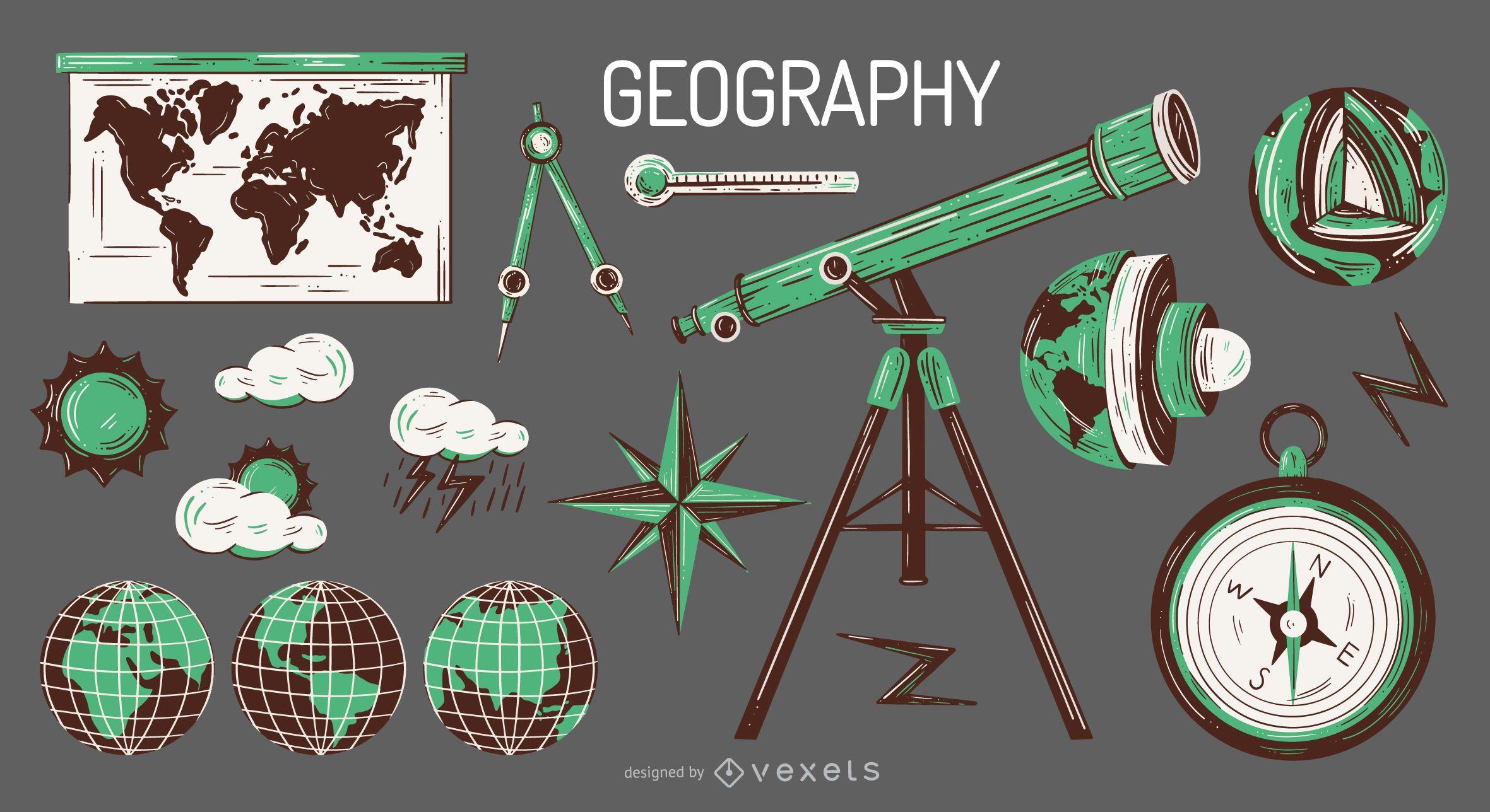 Conjunto de ilustração de elementos geográficos