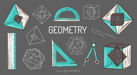 Paquete de ilustración de elementos de geometría