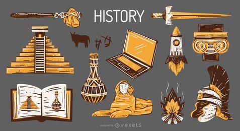 Pacote de ilustração de elementos da escola de história mundial