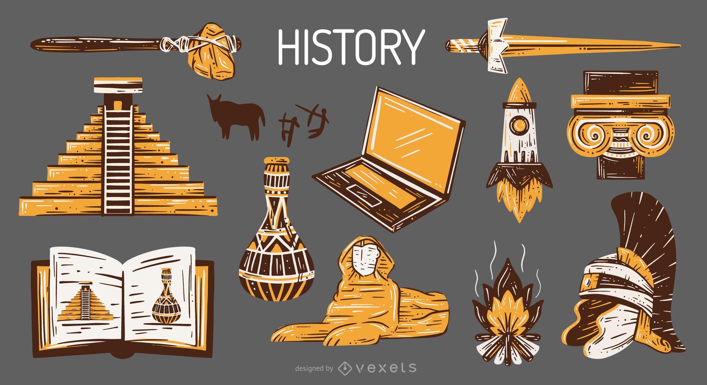 Pacote de ilustração dos elementos da escola de história mundial