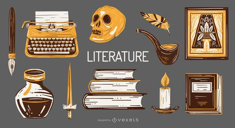 Literature School Elements Illustration Pack