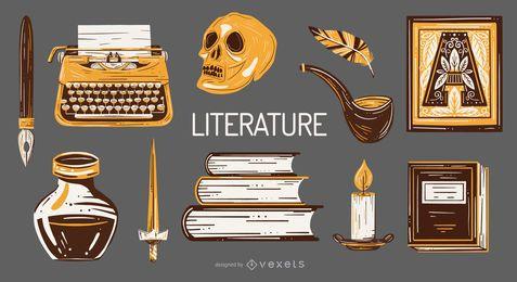 Paquete de ilustración de elementos escolares de literatura