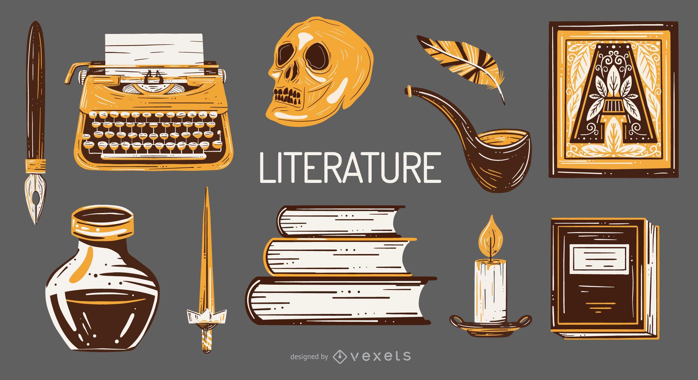 Paquete de ilustraci?n de elementos de la escuela de literatura