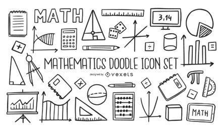 Mathematics Doodle Icon Set Collection