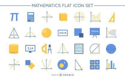 Paquete de iconos de diseño plano de matemáticas