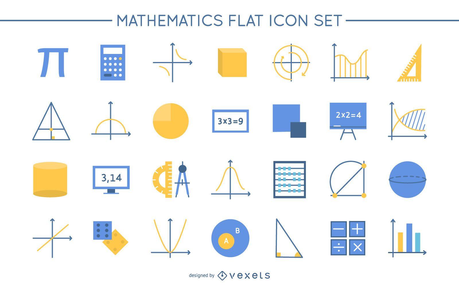 Math Flat Design Icon Pack