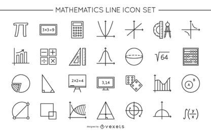 Math Line Icon Design Collection