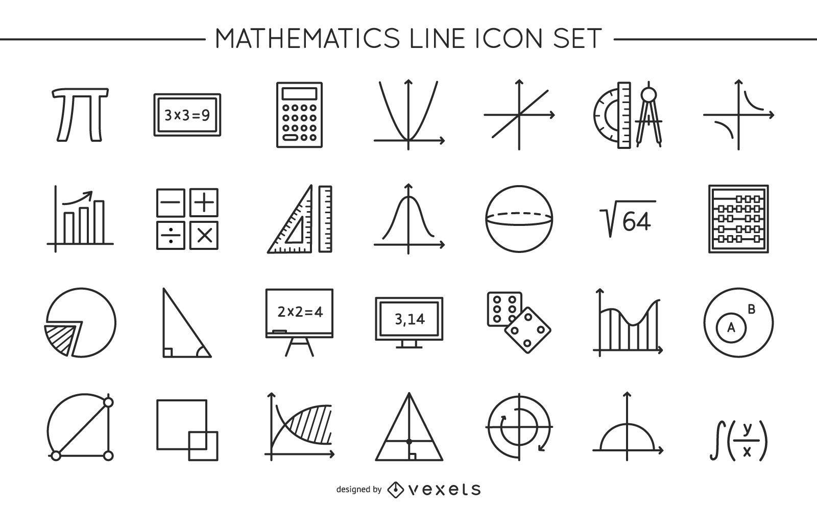 Colección de diseño de iconos de línea matemática