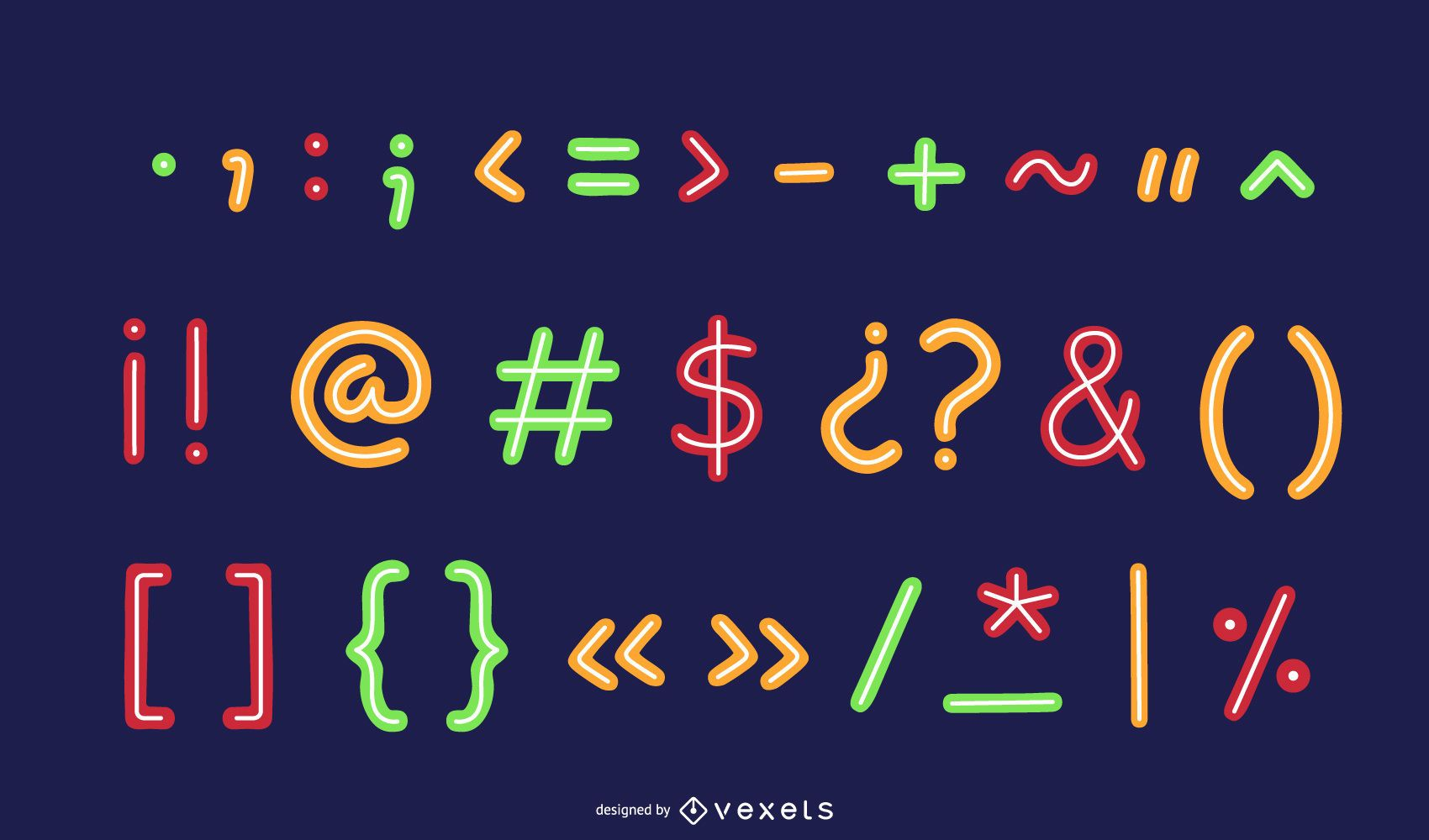 Colorful Neon Punctuation Marks Pack