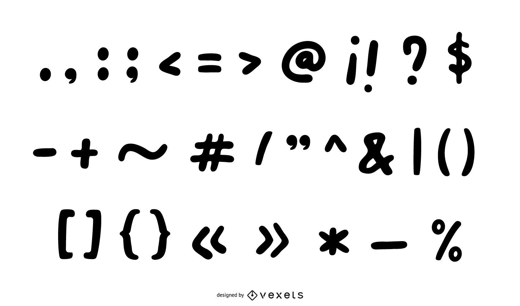Doodle Black Punctuation Mark Collection
