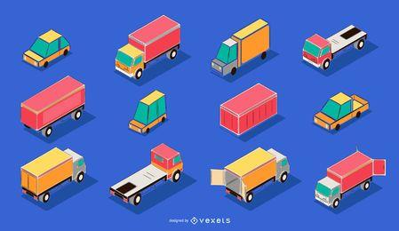 Pacote de ilustração isométrica de transporte