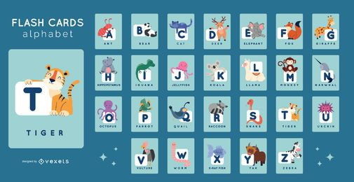 Pacote de Flashcards Alphabet Animal