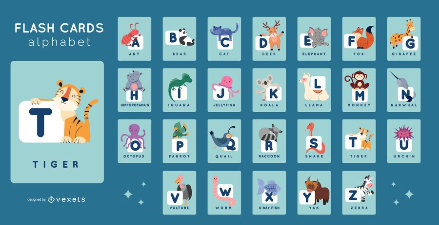 Paquete de tarjetas de alfabeto de animales