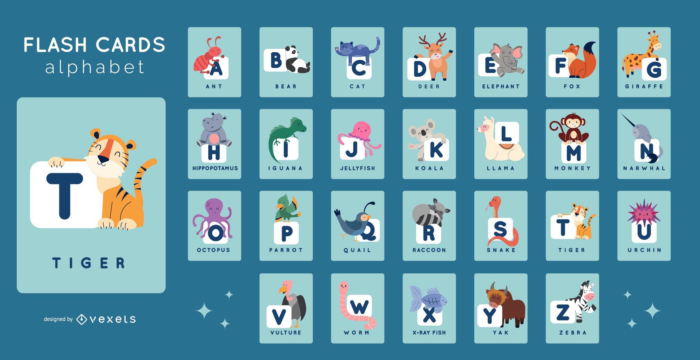 Pacote de Flashcards Alphabet Animal