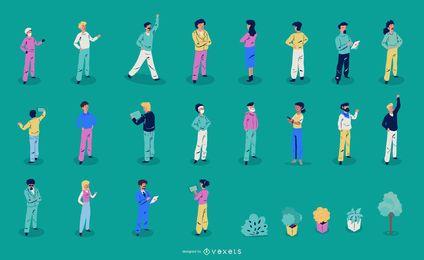 Colección de ilustración de personas isométricas