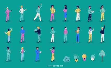 Colección de ilustraciones de personas isométricas