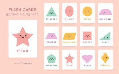 Pacote de cartões de forma bonito