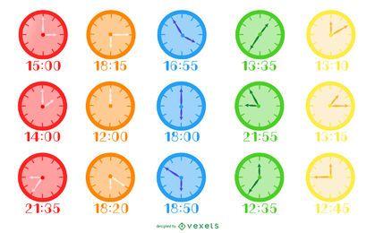 Paquete de reloj de diseño plano colorido