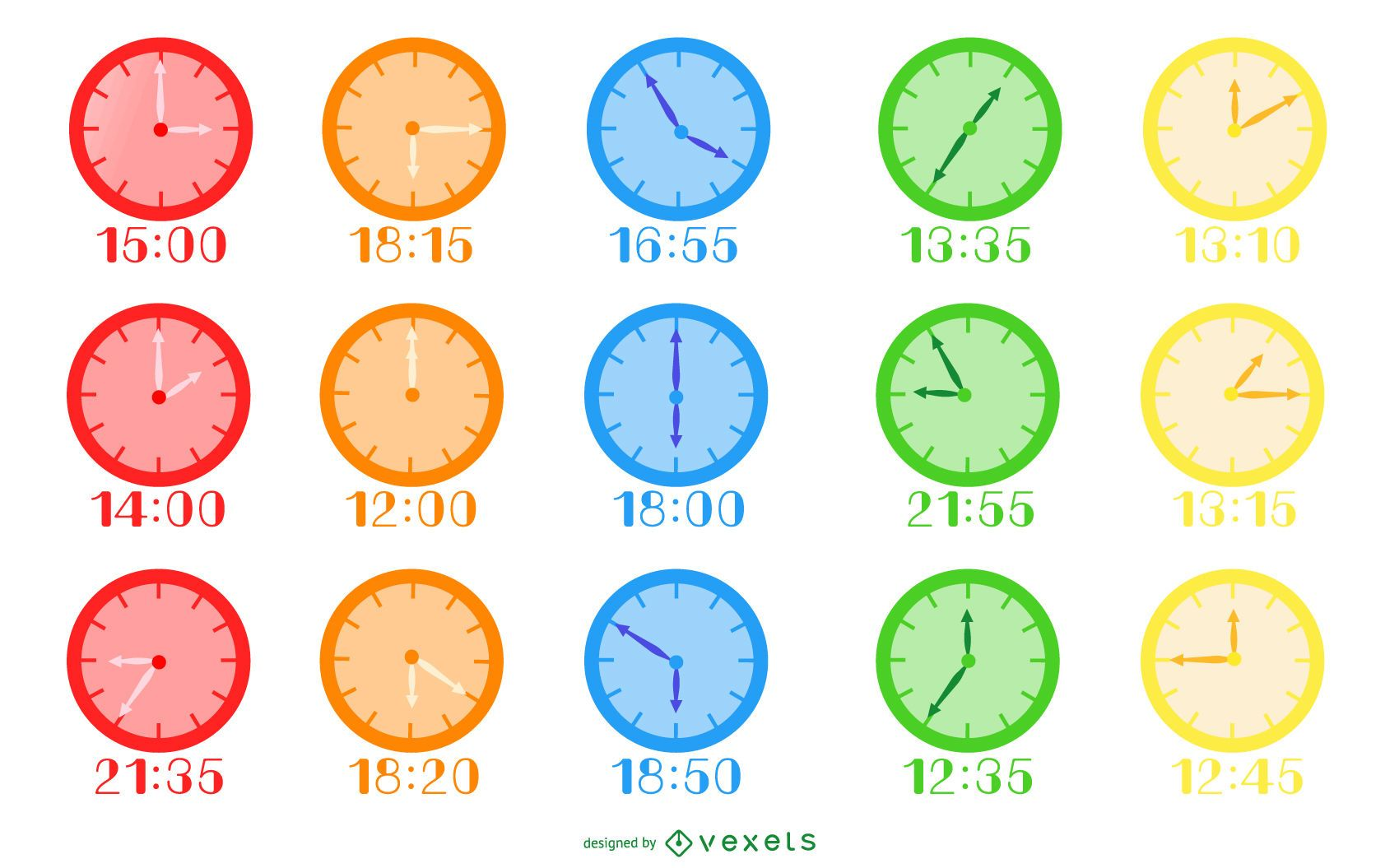 Colorful Flat Design Clock Pack