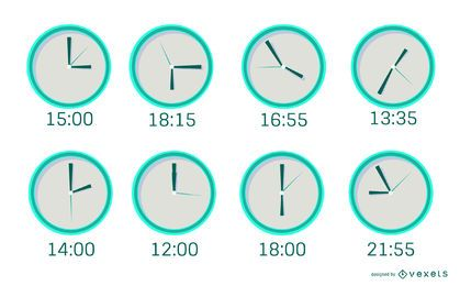 Minimal Clock Flat Design Pack