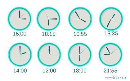 Paquete de diseño plano de reloj mínimo