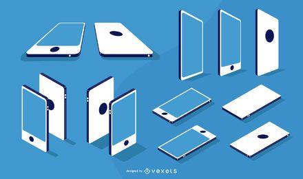 Paquete de diseño plano isométrico y en ángulo para smartphone