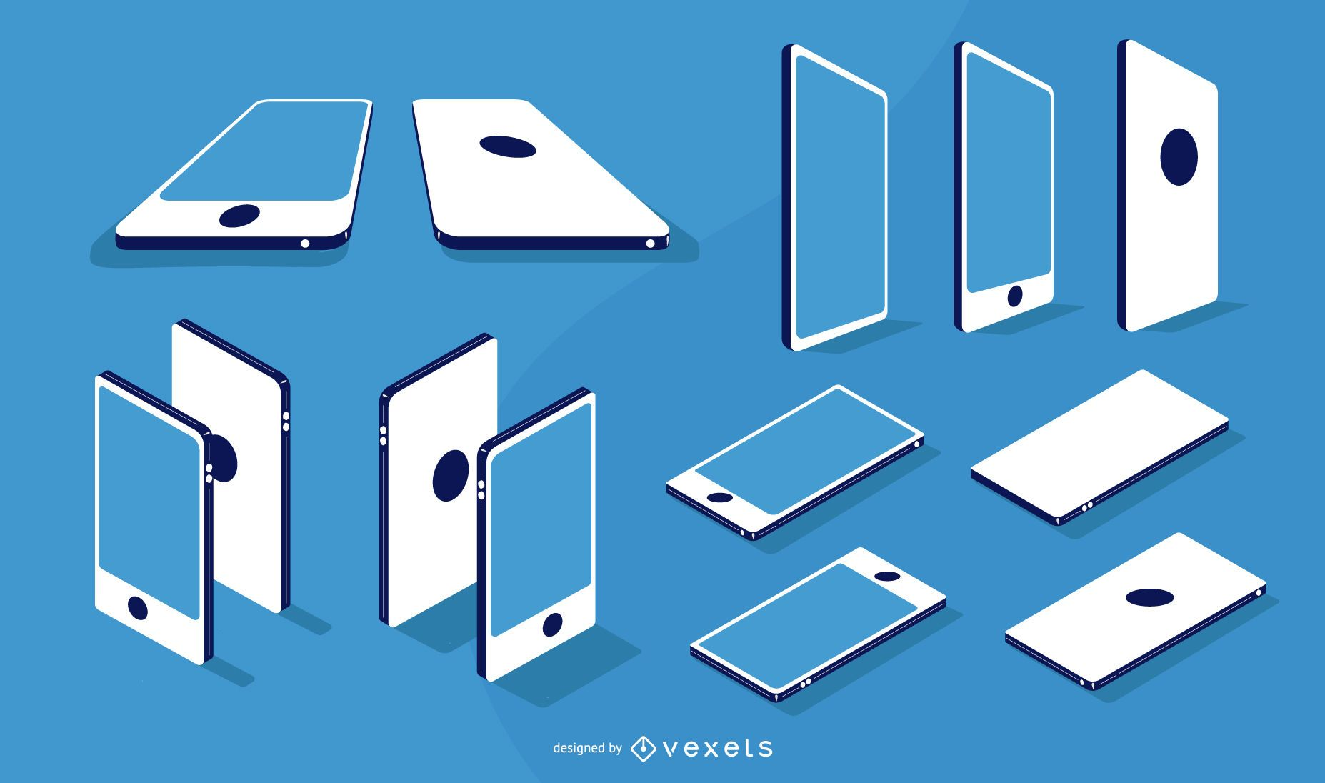 Smartphone Flat Isometric and Angle Design Pack