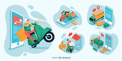 Online Shopping Isometric Illustrations Pack