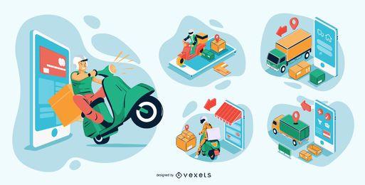 Pacote de ilustrações isométricas para compras online