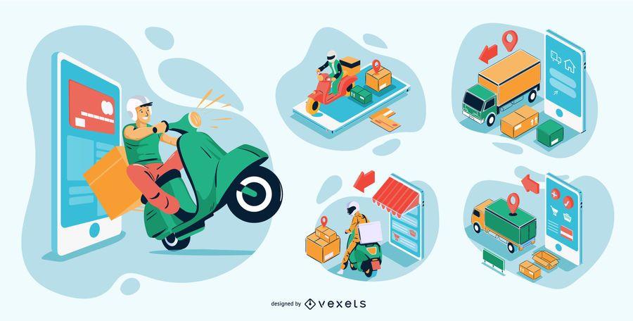 Online Shopping Isometric Illustrations Pack