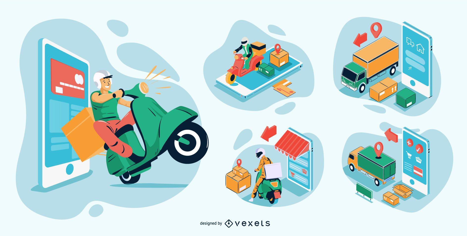 Paquete de ilustraciones isométricas de compras en línea