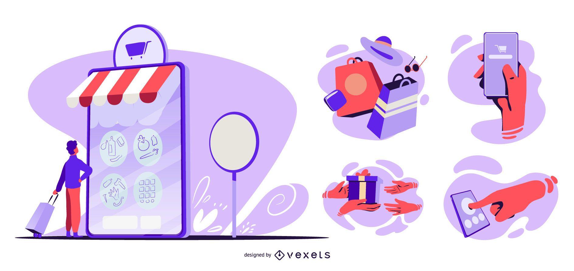 Paquete de ilustración de proceso de compra en línea
