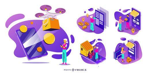 Paquete de ilustración de teléfono inteligente de compras en línea