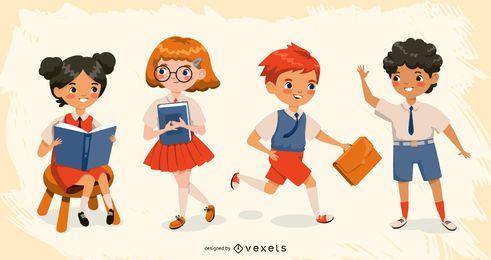 Conjunto de caracteres de niños de escuela