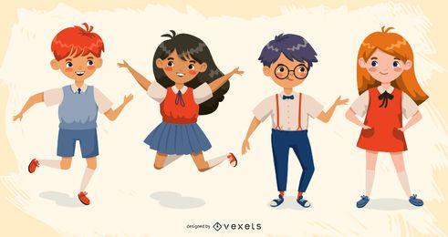 Conjunto de caracteres de niños de escuela feliz