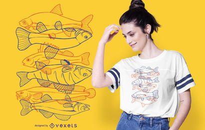 Desenho de t-shirt com ilustração de contorno de peixe